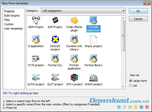 Lựa chọn thư mục lưu file dự án trong Code::Blocks