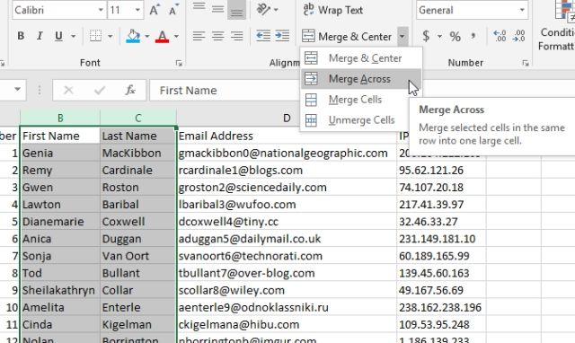 Gộp ô Excel bằng nút bấm
