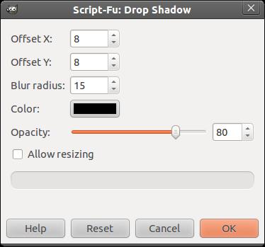 Ô drop shadow trong GIMP