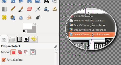 Kết quả tạo hiệu ứng ảnh phóng to trong GIMP