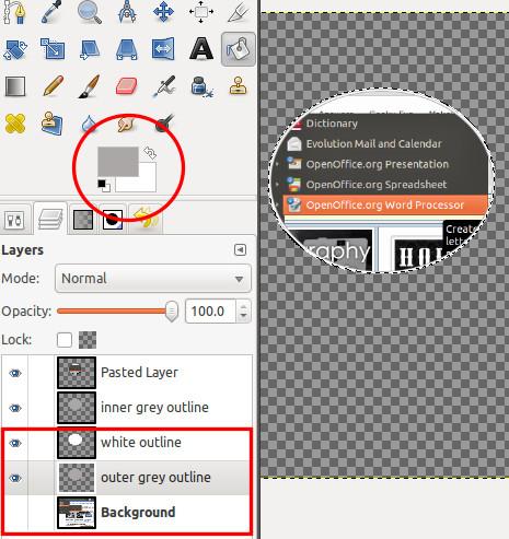 Chọn đường viền màu xám trong GIMP