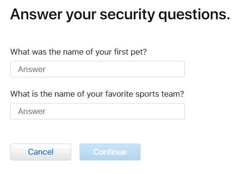 Câu hỏi xác thực Apple ID