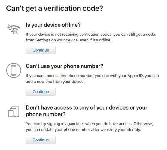 Tùy chọn xác thực hai lớp cho Apple ID