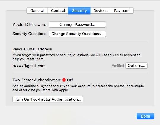 Tab bảo mật iCloud trên Mac