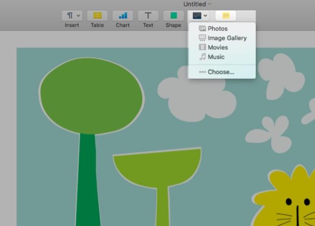 Chèn media vào Pages cho Mac