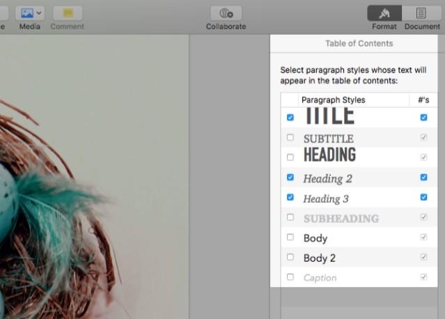 Thêm bảng nội dung vào Pages cho Mac