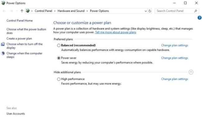 Power Options trên PC