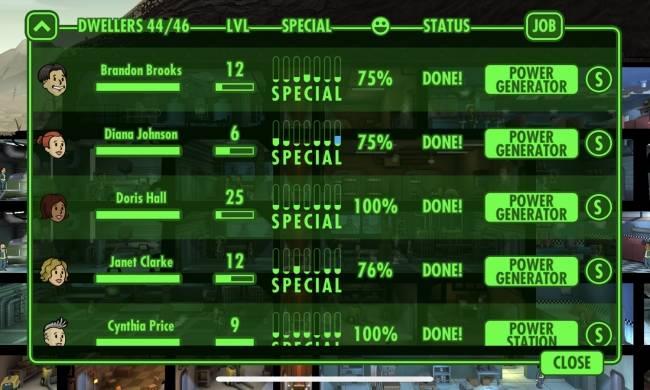 Duy trì năng lượng làm việc cho nhân công ở Fallout Shelter