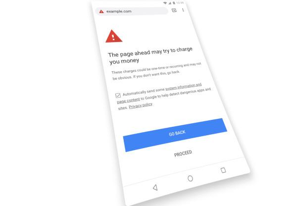 Google Chrome cảnh báo web tính phí di động