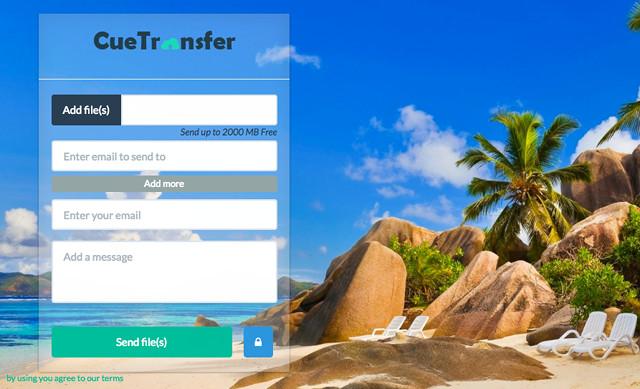 CueTransfer cũng là dịch vụ chia sẻ tệp tin tới email