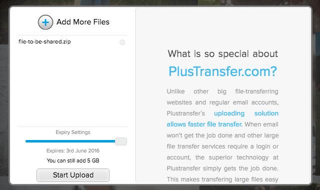 Chia sẻ tệp tin tới email người nhận bằng PlusTransfer