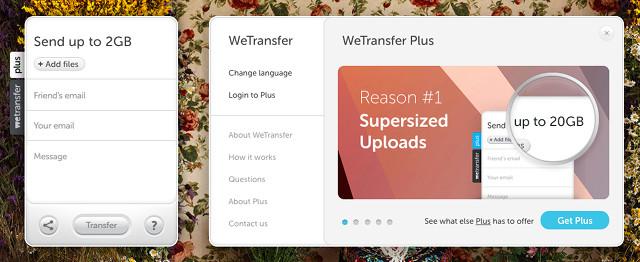 WeTransfer hỗ trợ gửi file lên tới 2 GB mỗi lần