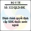 Công văn 322/2013/QLD-ĐK