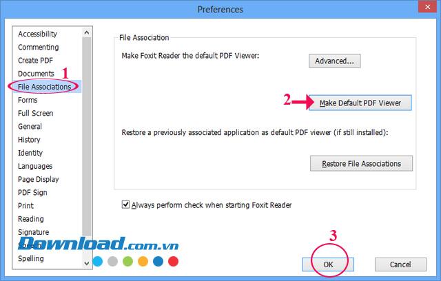 Mở file PDF mặc định bằng Foxit Reader