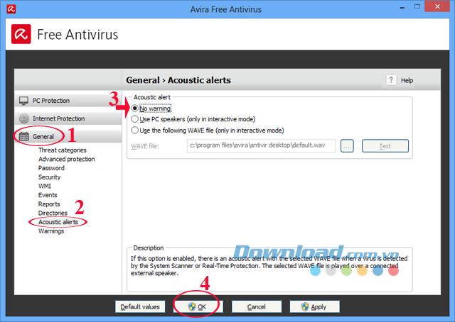 Cách tắt âm thanh khi diệt Virus bằng Avira Free AntiVirus