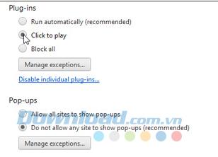 Kích hoạt tính năng Click to Play trên các trình duyệt
