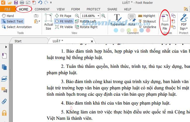 Mở file word đã lưu bằng Foxit reader