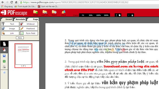 Đoạn văn bản hiển thị trên pdfescape