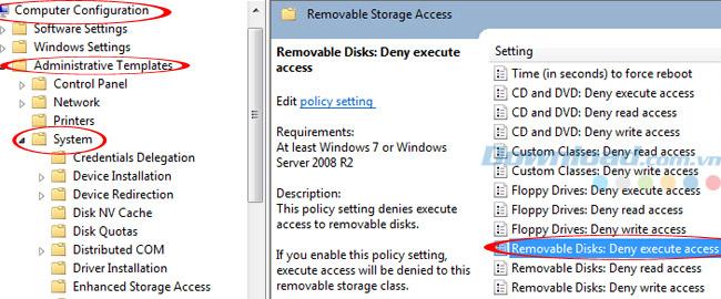 Nhấp đúp vào deny execute access