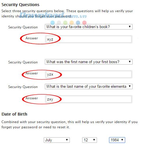 Chọn câu hỏi bí mật làm tài khoản iTunes
