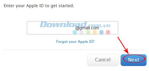 Nhập địa chỉ email đã đăng ký tài khoản iTunes ban đầu