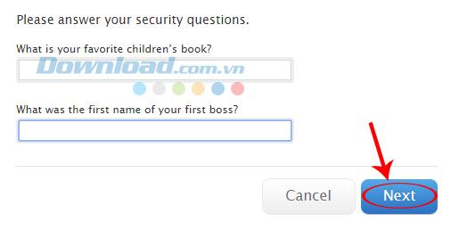 Trả lời câu hỏi bảo mật
