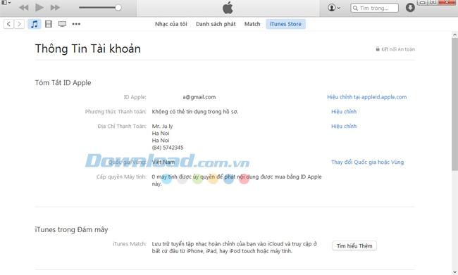 Thông tin người dùng trên iTunes