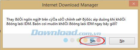 Hộp thoại thông báo yêu cầu khởi động lại IDM