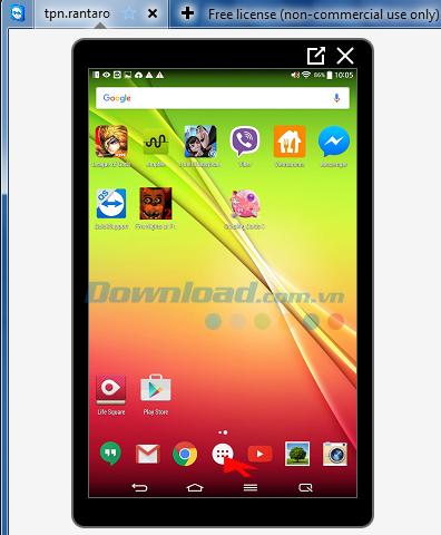 Màn hình thiết bị Android trên máy tính