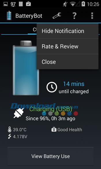 Các tùy chọn của BatteryBot Battery Indicator