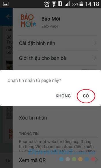 Đồng ý chặn tin nhắn từ Page