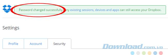 Thay đổi mật khẩu thành công
