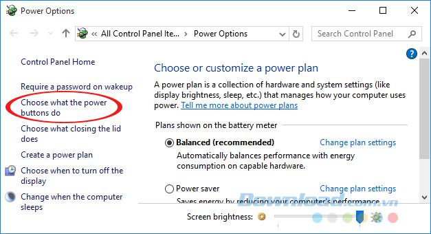 Nhấn vào nút Choose what the power button do
