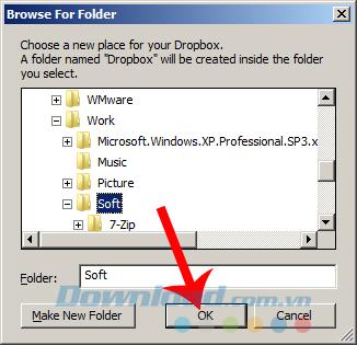 Chọn vị trí cài đặt mới cho Dropbox