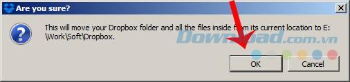 Xác nhận việc di chuyển Dropbox