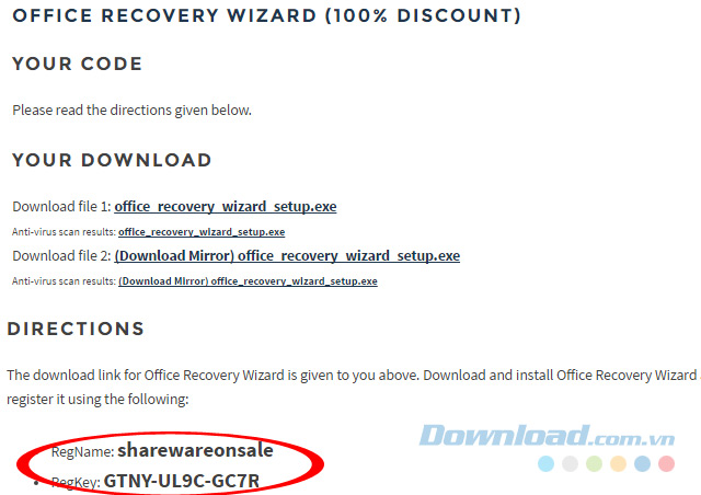 Mã bản quyền phần mềm Office Recovery Wizard
