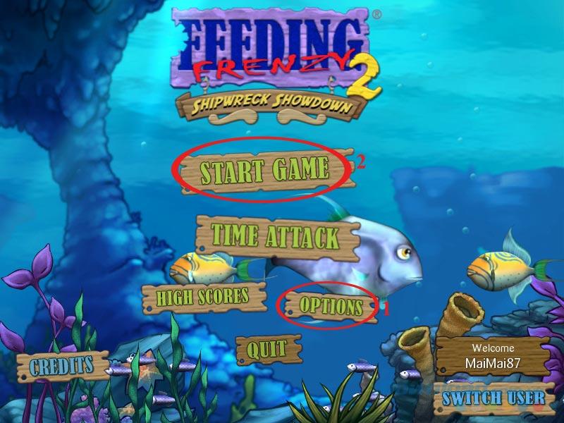 Giao diện chính của Feeding Frenzy