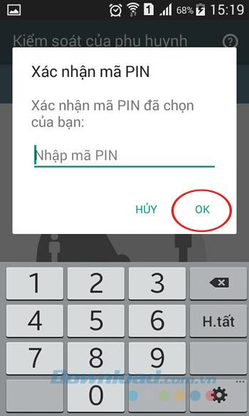 Xác nhận nhập mã pin