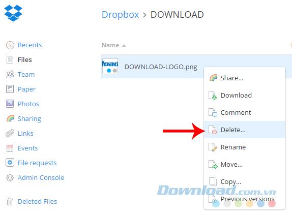 Xóa tạm thời dữ liệu trên Dropbox