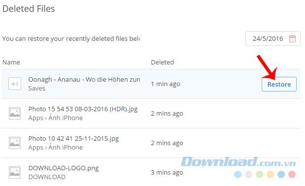 Lấy lại dữ liệu đã xóa trên Dropbox