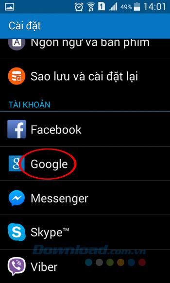 Nhấn vào Google