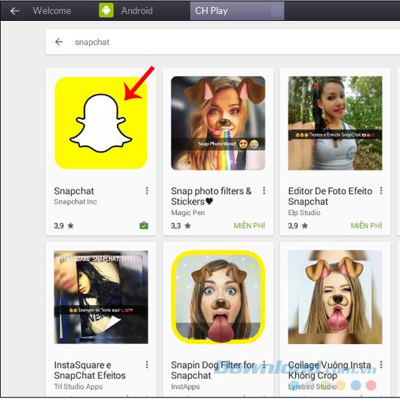 Cài Snapchat trên giả lập