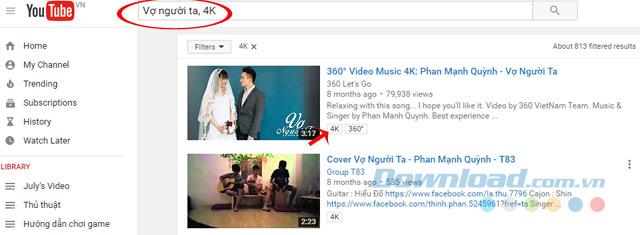 Tìm video 4K