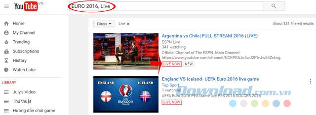 Tìm video live