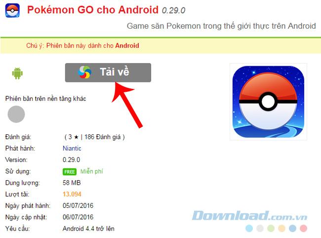 Cài game Pokemon GO trên Android