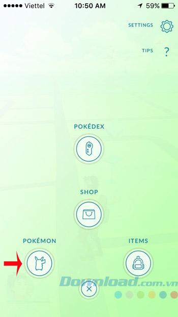 Nhấn vào Pokemon