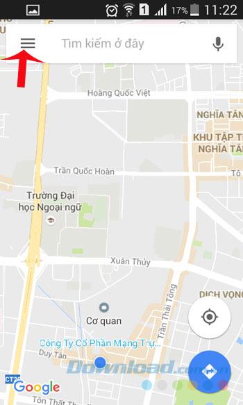 Nhấn vào Menu Google Maps