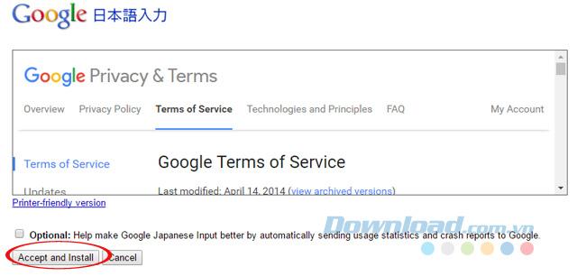 Đồng ý cài đặt Google Japanese Input