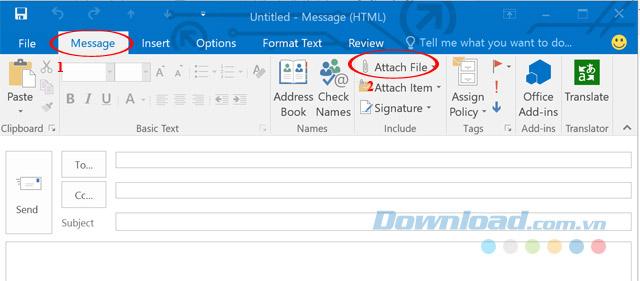 Đính kèm file và Outlook 2016