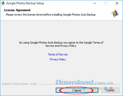 Đồng ý cài đặt Google Photos